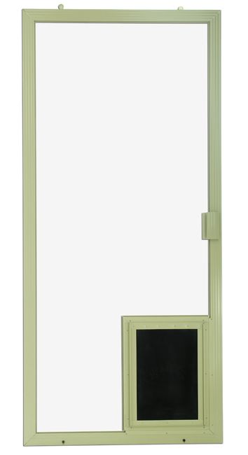 pet door in the sliding screen door